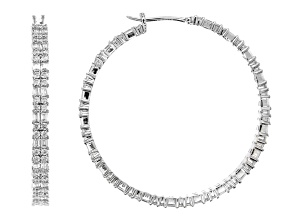 Pre-Owned White Cubic Zirconia Rhodium Over Sterling Silver Hoop Earrings 8.75ctw
