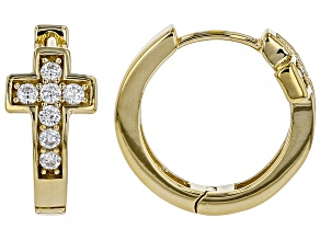 Pre-Owned Cubic Zirconia 18k Yellow Gold Over Sterling Silver Cross Hoop Earrings .84ctw