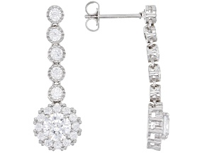 Pre-Owned White Cubic Zirconia Rhodium Over Sterling Silver Dangle Earrings 4.37ctw
