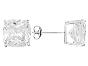 Pre-Owned Bella Luce ® 13ctw Cushion Diamond Simulant Rhodium Over Silver Earrings