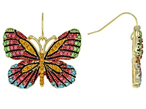 Pre-Owned Multicolor Crystal Gold Tone Butterfly Dangle Earrings
