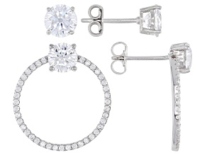 Pre-Owned White Cubic Zirconia Rhodium Over Sterling Silver Earrings Set of 2 6.66ctw