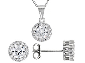 Pre-Owned White Cubic Zirconia Rhodium Over Sterling Silver Earrings And Pendant With Chain 3.72ctw