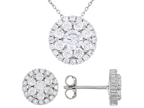 Pre-Owned White Cubic Zirconia Rhodium Over Sterling Silver Earrings And Pendant With Chain 5.37ctw