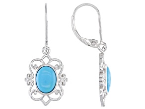 Pre-Owned Sleeping Beauty Turquoise Rhodium Over Silver Dangle Earrings