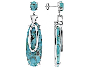 Pre-Owned Blue Turquoise Rhodium Over Sterling Silver Earrings