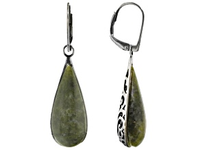 Pre-Owned Green Connemara Marble Sterling Silver Earrings