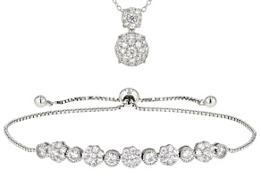 Pre-Owned White Cubic Zirconia Rhodium Over Sterling Silver Bracelet And Pendant With Chain 3.16ctw