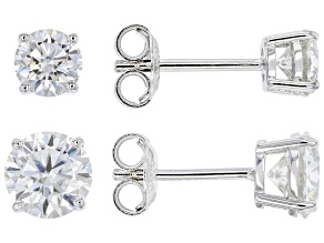 Pre-Owned Moissanite platineve(R) set of 2 pair stud earrings, 1ctw pair and a 2ctw pair 3.00ctw DEW