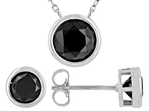 Pre-Owned  Black Spinel Rhodium Over Silver Jewelry set 4.35ctw