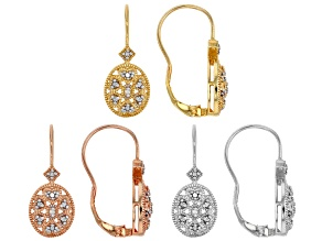 Pre-Owned White Diamond Accent Rhodium, 18k Rose And Yellow Gold Over Sterling Silver Set Of 3 Earri