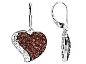 Pre-Owned Red Garnet Rhodium Over Silver Heart Dangle Earrings 2.60ctw