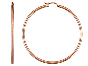 Pre-Owned Polished 18k Rose Gold Over Sterling Silver Round Tube Hoop Earrings