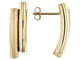 Pre-Owned 10k Yellow Gold Semi Curved Polished And Satin Bar Stud Earrings