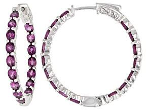 Pre-Owned Purple Rhodolite Sterling Silver inside/Outside Hoop Earrings 6.25ctw