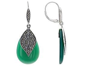 Pre-Owned Green onyx sterling silver dangle earrings