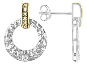 Pre-Owned White Cubic Zirconia Rhodium And 14K Yellow Gold Over Sterling Silver Earrings 0.11ctw