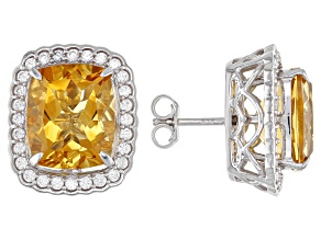 Pre-Owned Golden Citrine Rhodium Over Sterling Silver Earrings 9.27ctw