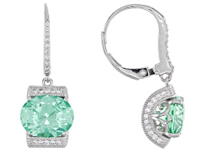 Pre-Owned Lab Created Green Spinel And White Cubic Zirconia Platineve Earrings 7.30ctw