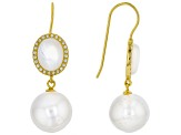 Pre-Owned Cultured Freshwater Pearl, Mother-Of-Pearl & Bella Luce(TM) 18k Yellow Gold Over Silver Ea