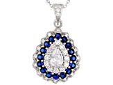 Pre-Owned Lab Created Sapphire & White Cubic Zirconia Rhodium Over Silver Pendant With Chain & Earri