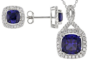 Pre-Owned Lab Created Blue Sapphire Rhodium Over Sterling Silver Pendant And Earring Set