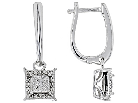 Pre-Owned White Diamond Rhodium Over Sterling Silver Earring Set .10ctw