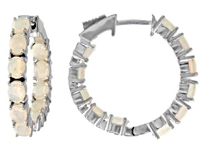 Pre-Owned Multi-color Opal Rhodium Over Sterling Silver Inside/Outside Hoop Earrings 3.74ctw