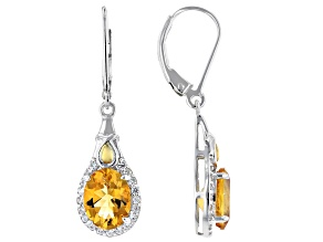 Pre-Owned Yellow citrine rhodium and 18k gold over sterling silver earrings 3.16ctw