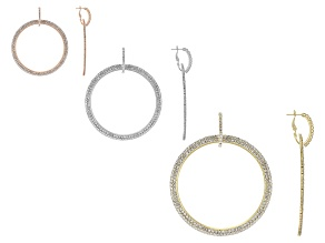 Pre-Owned White Crystal Three-Tone Hoop Earring Set Of 3
