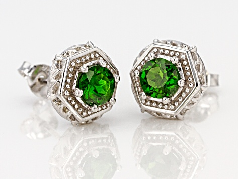 Pre-Owned Green chrome diopside  rhodium over sterling silver earrings .90ctw