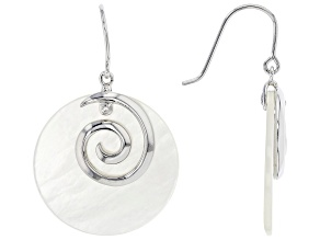 Pre-Owned White South Sea Mother-of-Pearl Rhodium Over Sterling Silver Earrings