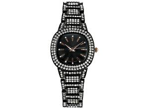 Pre-Owned Ladies Gun Metal & White Crystal Watch