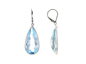 Pre-Owned Blue Topaz Rhodium Over Silver Dangle Earrings 34.00ctw