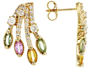 Pre-Owned Green, Yellow, & Pink Sapphire And White Diamond 14K Yellow Gold Cluster Earrings 1.77ctw