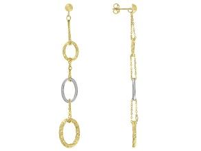 Pre-Owned 10K Two-Tone Diamond-Cut Oval Drop Earrings