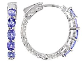 Pre-Owned Blue tanzanite rhodium over sterling silver hoop earrings 1.45ctw
