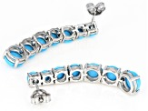 Pre-Owned Blue turquoise rhodium over silver earrings