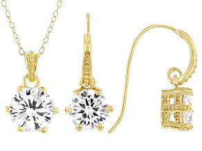 Pre-Owned White Cubic Zirconia 18K Yellow Gold Over Sterling Silver Pendant With Chain And Earrings