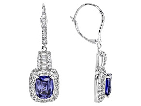 Pre-Owned Blue And White Cubic Zirconia Rhodium Over Sterling Silver Earrings 12.06ctw
