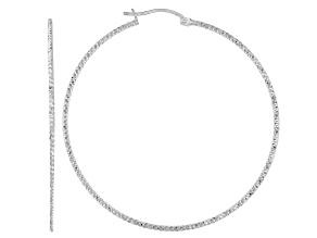 Pre-Owned Sterling Silver Diamond-Cut 1.5x60 Tube Hoop Earrings