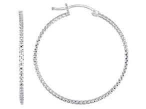 Pre-Owned Sterling Silver Diamond-Cut 1.5x30 Tube Hoop Earrings