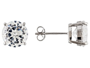 Pre-Owned 1.74ctw Cubic Zirconia Rhodium Over Sterling Silver Round Stud Earrings