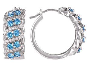 Pre-Owned Blue And White Cubic Zirconia Rhodium Over Sterling Silver Hoop Earrings 3.95ctw