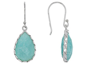 Pre-Owned Blue Amazonite Sterling Silver Dangle Earrings