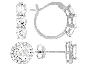 Pre-Owned White Cubic Zirconia Rhodium Over Sterling Silver Earring Set 5.35ctw