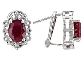 Pre-Owned Red Indian Ruby Rhodium Over Sterling Silver Stud Earrings 3.06ctw