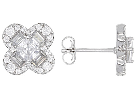 Pre-Owned White Cubic Zirconia Rhodium Over Sterling Silver Earrings- Set of 2 10.17ctw
