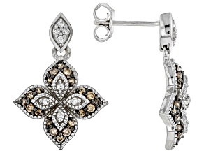 Pre-Owned Brown and White Cubic Zirconia Rhodium Over Sterling Silver Earrings 1.10ctw