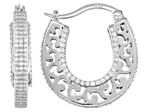 Pre-Owned White Cubic Zirconia Rhodium Over Sterling Silver Hoop Earrings 3.18ctw